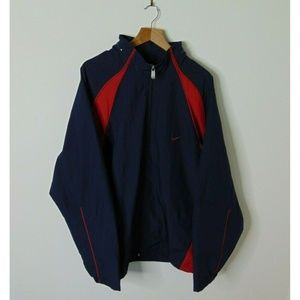 Nike 2XL Full Zip Windbreaker Rain Jacket Blue Red
